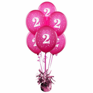 Fuchsia Number Two Balloons Sculpture