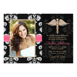 Fuchsia Nurse Graduation Announcements Invitations