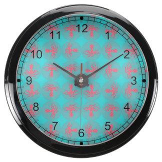Fuchsia octopus pattern aquarium clock