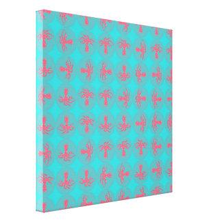 Fuchsia octopus pattern canvas print