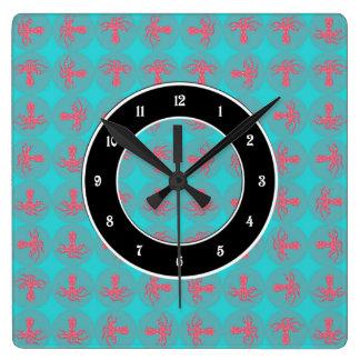 Fuchsia octopus pattern square wall clocks