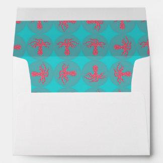 Fuchsia octopus pattern envelope