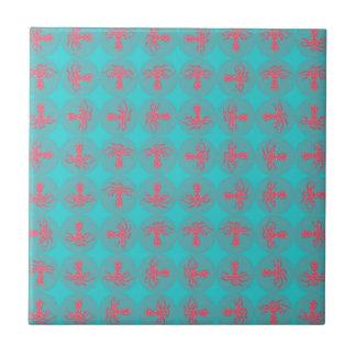 Fuchsia octopus pattern small square tile