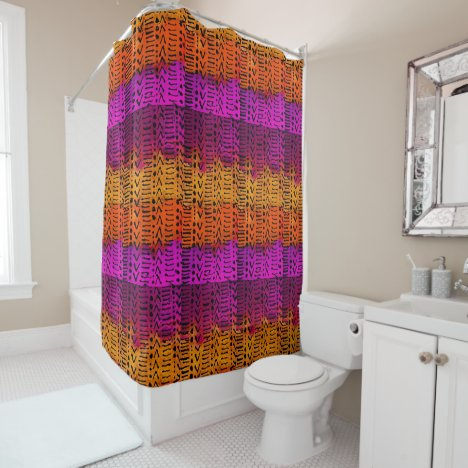 Fuchsia Orange and Yellow Pattern Shower Curtain