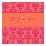 Fuchsia Orange Damask Wedding Invitation Square