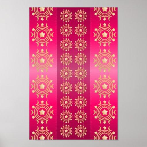 Fuchsia Oriental Mandala Pattern Posters