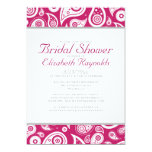 Fuchsia Paisley Bridal Shower Invitations Personalized Announcement