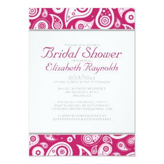 Fuchsia Paisley Bridal Shower Invitations