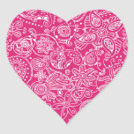 Fuchsia Paisley Heart Sticker