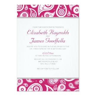 Fuchsia Paisley Wedding Invitations