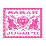 Fuchsia Papel Picado Love Birds RSVP Custom Announcement