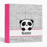 Fuchsia Personalized Panda School Binder