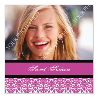Fuchsia Photo 16th Birthday Party Invitations
