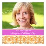 """Fuchsia Photo 50th Birthday Party Invitations 5.25"""" Square Invitation Card"""