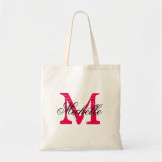 Fuchsia pink and black wedding tote bag with name budget tote bag