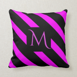 Fuchsia Pink and Black Wide Striped Monogram