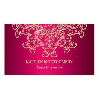 Fuchsia Pink and Gold Ornate Sunburst Mandala Business Card