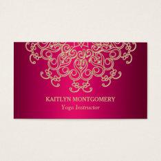 Fuchsia Pink And Gold Ornate Sunburst Mandala Business Card at Zazzle