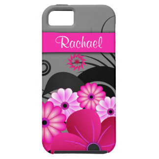 Fuchsia Pink And Gray Floral iPhone 5 5S Vibe Case