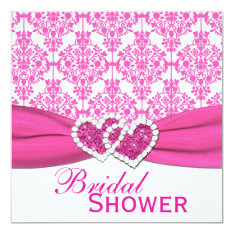Fuchsia Pink And White Damask Bridal Shower Invite at Zazzle