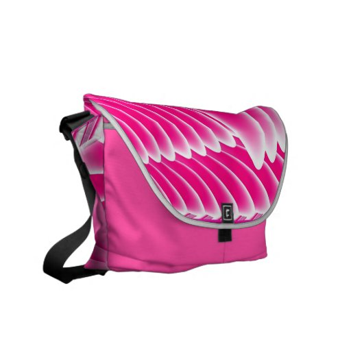 Fuchsia Pink Angel's Wings Fractal Courier Bags