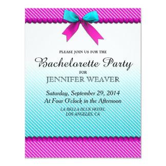 Fuchsia Pink & Aqua Teal Neon Dots, Bow, & Ribbon Card