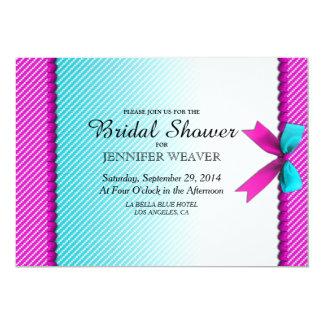 Fuchsia Pink & Aqua Teal Neon Dots, Bow, & Ribbon 5x7 Paper Invitation Card