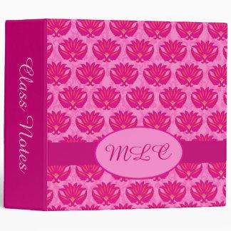 Fuchsia Pink Art Nouveau Damask Monogram Album Binder
