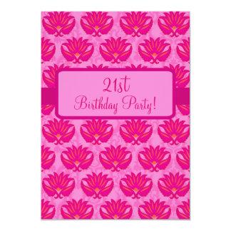 Fuchsia Pink Art Nouveau Damask Party Event 5x7 Paper Invitation Card