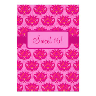 Fuchsia Pink Art Nouveau Damask Sweet 16 Party Personalized Announcements