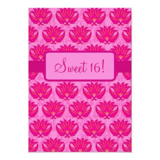 Fuchsia Pink Art Nouveau Damask Sweet 16 Party 5x7 Paper Invitation Card