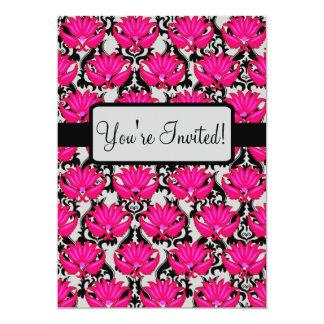 Fuchsia Pink Black Art Nouveau Damask Party Event Card