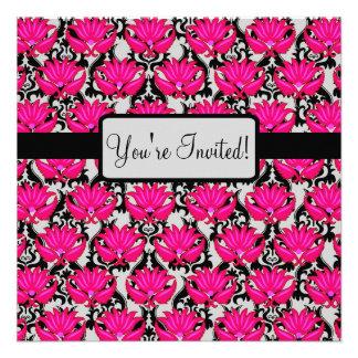 Fuchsia Pink Black Art Nouveau Damask Party Event Announcement