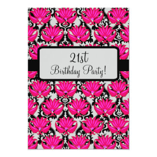 Fuchsia Pink Black Damask 21st Birthday Party Card