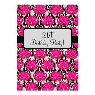 Fuchsia Pink Black Damask 21st Birthday Party Announcements