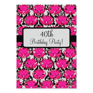 Zip line birthday invitations announcements zazzle fuchsia pink black damask 40th birthday party card stopboris Gallery