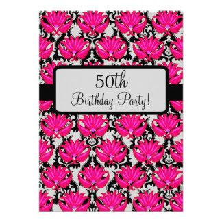 Fuchsia Pink Black Damask 50th Birthday Party Card