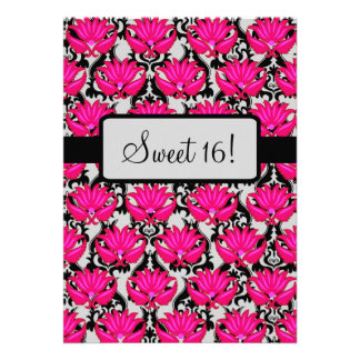 Fuchsia Pink Black Damask Party Personalized Announcements