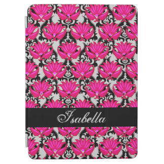 Fuchsia Pink Black Gray Damask Name Personalized iPad Air Cover