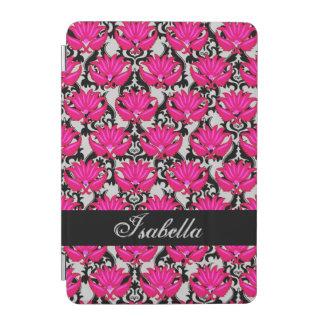 Fuchsia Pink Black Gray Damask Name Personalized iPad Mini Cover