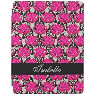 Fuchsia Pink Black Gray Damask Name Personalized iPad Smart Cover