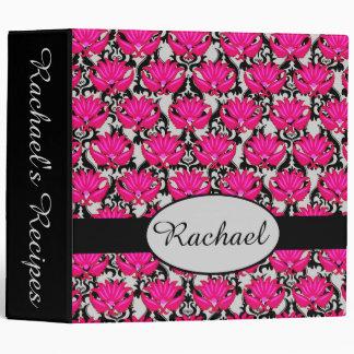 Fuchsia Pink Black Gray Damask Personalized Album 3 Ring Binder