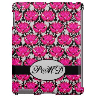 Fuchsia Pink Black Gray Parisian Damask Monogram