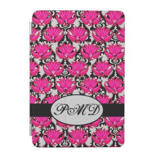 Fuchsia Pink Black Gray Parisian Damask Monogram iPad Mini Cover