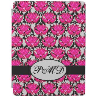 Fuchsia Pink Black Gray Parisian Damask Monogram iPad Smart Cover