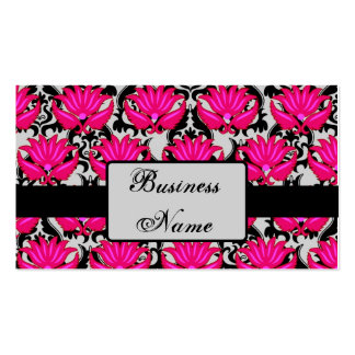 Fuchsia Pink Black Grey Parisian Damask Graphic Business Card