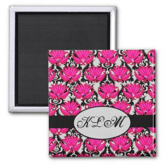 Fuchsia Pink Black Grey Parisian Damask Monogram 2 Inch Square Magnet