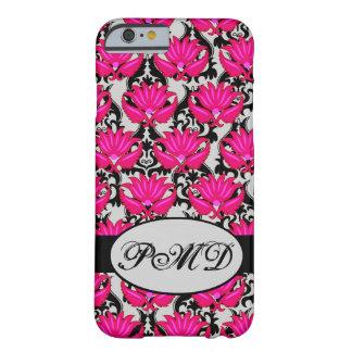 Fuchsia Pink Black Grey Parisian Damask Monogram Barely There iPhone 6 Case