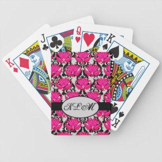 Fuchsia Pink Black Grey Parisian Damask Monogram Bicycle Playing Cards