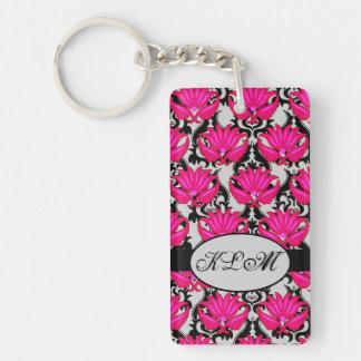 Fuchsia Pink Black Grey Parisian Damask Monogram Double-Sided Rectangular Acrylic Keychain